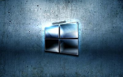 Windows 10, grunge, Microsoft, blue metal background, blue metal logo, creative, Windows 10 logo