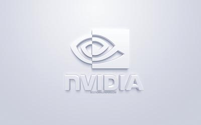 NVidia, logo, white 3d art, white 3d logo, NVidia emblem, white background, creative art