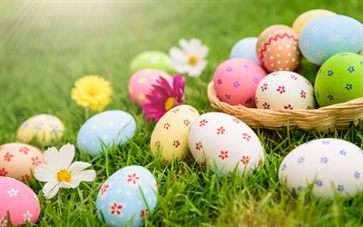 Easter eggs, spring, decorated eggs, Easter, eggs on the grass