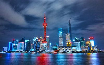 The Bund, 4k, Wai Tan, cityscapes, Shanghai, nightscapes, China, Asia