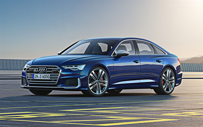 2020, Audi S6, luxury sedan, 4k, new blue S6, business class, exterior, German cars, Audi