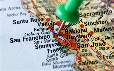 San Francisco, map pointer, California, USA, map, travel to San Francisco, USA map
