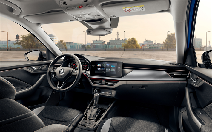 2019, Skoda Scala, interior, 4k, view inside, front panel, new Scala, Czech cars