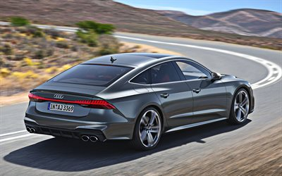 Audi S7, 2020, rear view, exterior, new gray S7, German cars, S7 sportback, Audi