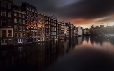 Amsterdam, evening, sunset, beautiful houses, canal, bay, Netherlands