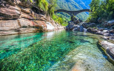 Locarno, Switzerland, mountain river, bridge, emerald river, mountain landscape, summer, travel, Lavertezzo, Valle Verzasca