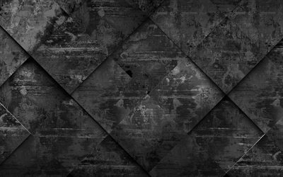 black rhombic texture, 4k, grunge rhombus texture, black backgrounds, geometry, rhombus textures