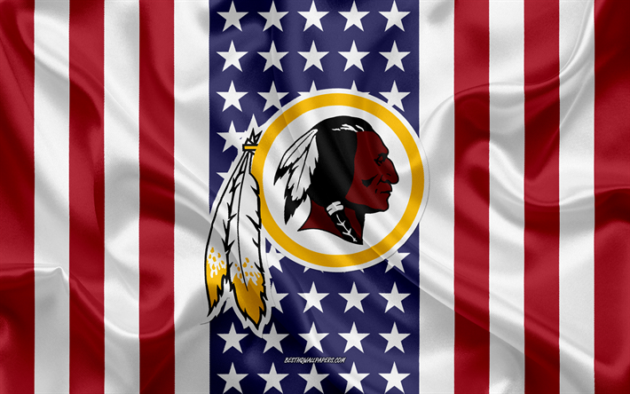 Washington Redskins, 4k, logo, emblem, silk texture, American flag, American football club, NFL, Washington, USA, National Football League, american football, silk flag