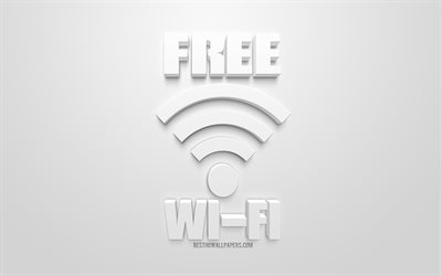 Free Wi-Fi concepts, white 3d art, Free Wi-Fi 3d icon, white background, 3d symbols, creative art