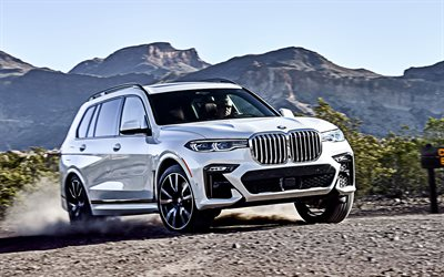 2019, BMW X7, xDrive50i, 4k, front view, new white X7, exterior, luxury SUV, German cars, BMW
