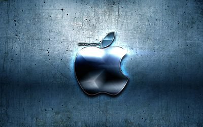 Apple logo, blue metal background, creative, Apple, brands, Apple 3D logo, artwork, Apple metal logo
