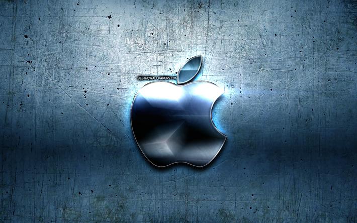 Indir Duvar Kağıdı Apple Logosu Mavi Metal Arka Plan Yaratıcı