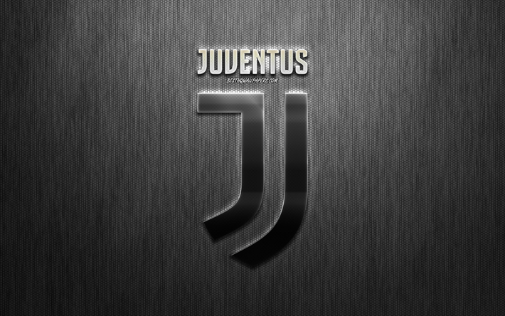Juventus FC, Italian football club, stylish metal logo, emblem, creative gray background, Juventus new logo, Turin, Italy, Serie A, football, Juve