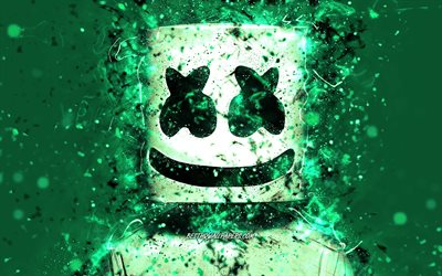 Christopher Comstock, 4k, DJ Marshmello, turquoise background, american DJ, Marshmello 4k, turquoise neon, creative, Marshmello DJ, superstars, Marshmello, DJs