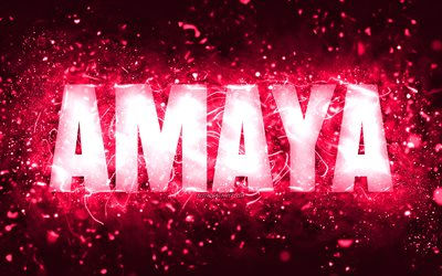 Happy Birthday Amaya, 4k, pink neon lights, Amaya name, creative, Amaya Happy Birthday, Amaya Birthday, popular american female names, picture with Amaya name, Amaya