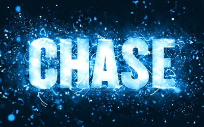 Happy Birthday Chase, 4k, blue neon lights, Chase name, creative, Chase Happy Birthday, Chase Birthday, popular american male names, picture with Chase name, Chase