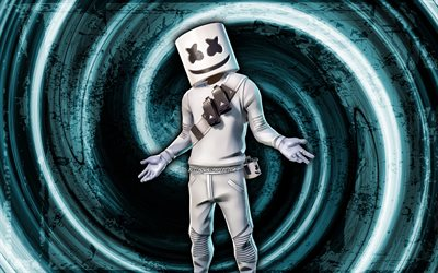 4k, Marshmello, mavi grunge arka plan, Fortnite, girdap, Fortnite karakterleri, Marshmello Derisi, Marshmello Fortnite, Fortnite Battle Royale, DJ Marshmello