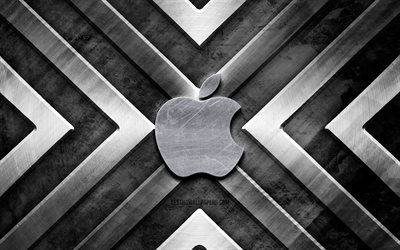 Apple metal logo, 4K, gray metal background, brands, metal arrows, Apple logo, creative, Apple