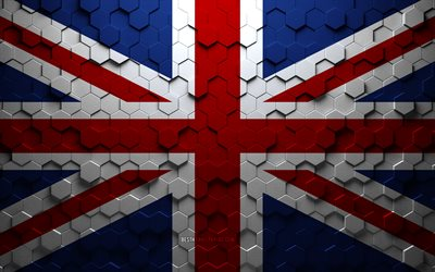Flag of United Kingdom, honeycomb art, United Kingdom hexagons flag, United Kingdom, 3d hexagons art, United Kingdom flag, Great Britain