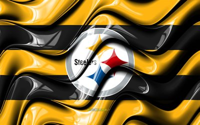 Pittsburgh Steelers flag, 4k, yellow an black 3D waves, NFL, american football team, Pittsburgh Steelers logo, american football, Pittsburgh Steelers