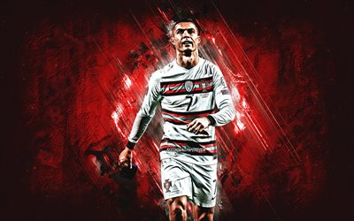 Cristiano Ronaldo, Portugal national football team, CR7, red stone background, grunge art, football, Portugal