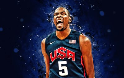 Kevin Durant, 4k, USA Basketball Mens National Team, blue neon lights, Kevin Wayne Durant, basketball, US mens national basketball team, creative, Kevin Durant 4K