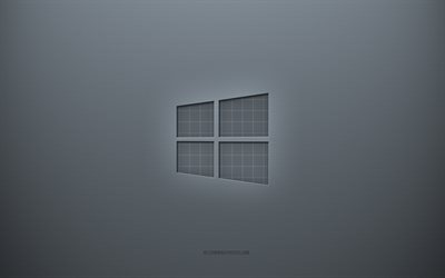 Windows 10 logo, gray creative background, Windows 10 emblem, gray paper texture, Windows 10, gray background, Windows 10 3d logo, Windows
