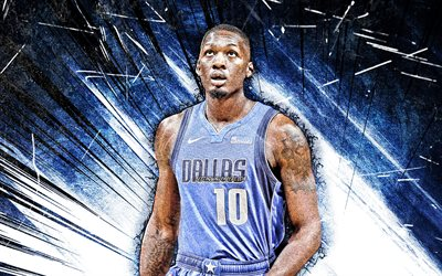 4k, Dorian Finney-Smith, grunge art, Dallas Mavericks, NBA, basketball, Dorian Lawrence Finney-Smith, USA, Dorian Finney-Smith Dallas Mavericks, blue abstract rays, Dorian Finney-Smith 4K
