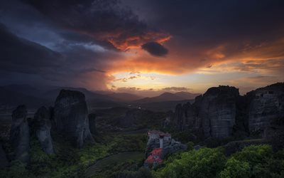 Kalampaka, mountains, sunset, Thessaly, Greece