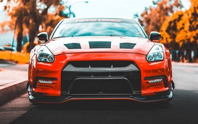 Nissan GT-R, front view, orange GTR, tuning Nissan, Japanese cars, Nissan