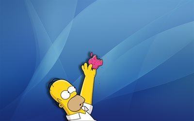 Homer Simpson, apple, blue background, Simpsons