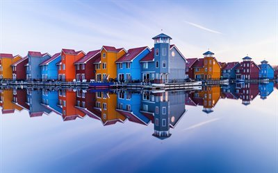 Groningen, Netherlands, water, reflections, Holland