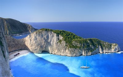 Summer, beach, Ionian Sea, Zakynthos, Greece, Navaio