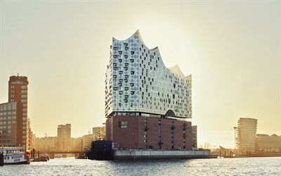 The Elbe Philharmonic, Hamburg, Germany, Elbe, modern architecture, Elbe Philharmonic Hall, Grasbrook