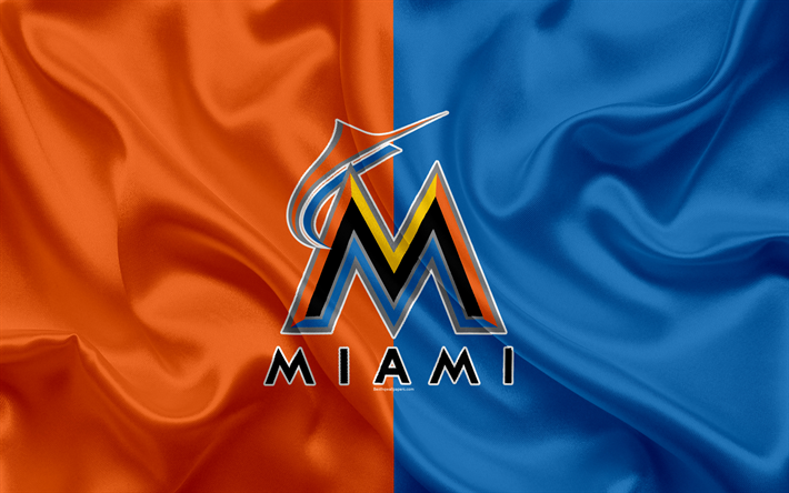 Miami Marlins 4k Logo Silk Texture American Baseball Club Blue Orange