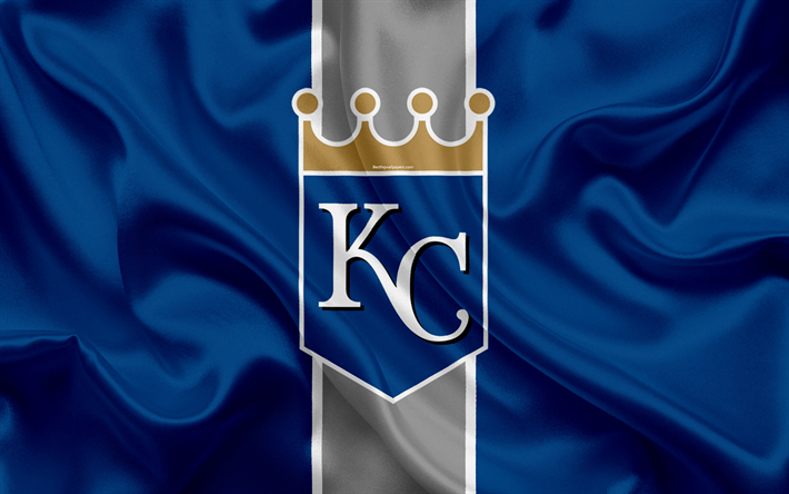 Download wallpapers Kansas City Royals, 4k, logo, silk texture