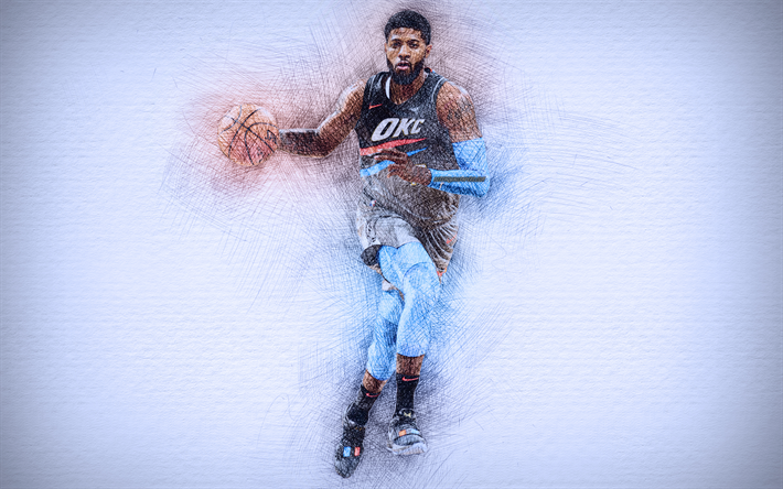 Paul George, 4k, artwork, basketball stars, Oklahoma City Thunder, NBA,