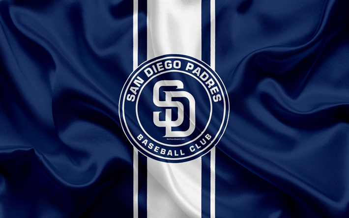 Download Wallpapers San Diego Padres 4k Logo Silk Texture American Baseball Club Blue Flag Emblem Mlb San Diego California Usa Major League Baseball For Desktop Free Pictures For Desktop Free