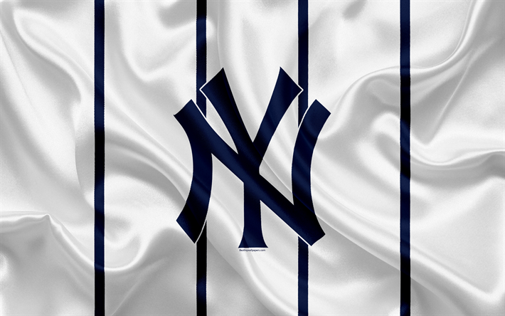 New York Yankees, 4k, logo, silk texture, american baseball club, white blue flag, emblem, MLB, New York, USA, Major League Baseball
