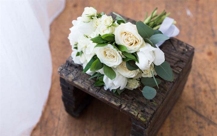 white roses, wedding bouquet, wooden box, beautiful white flowers, wedding concepts
