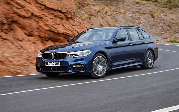BMW 530d Touring, 2018, wagon, new blue BMW 5-Series Touring, exterior, front view, German cars, BMW