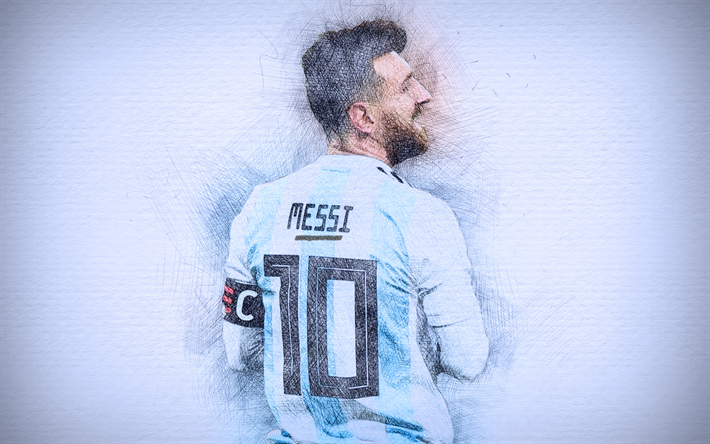4k, Lionel Messi, 2018, artwork, football stars, Argentine National Team, Messi, soccer, footballers, drawing Messi, Argentina national football team, Leo Messi