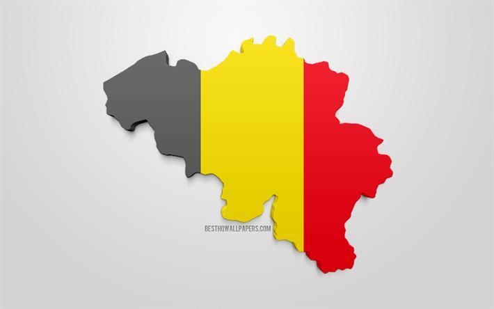 Lataa Kuva 3d Lippu Belgia Kartta Siluetti Belgia 3d Art