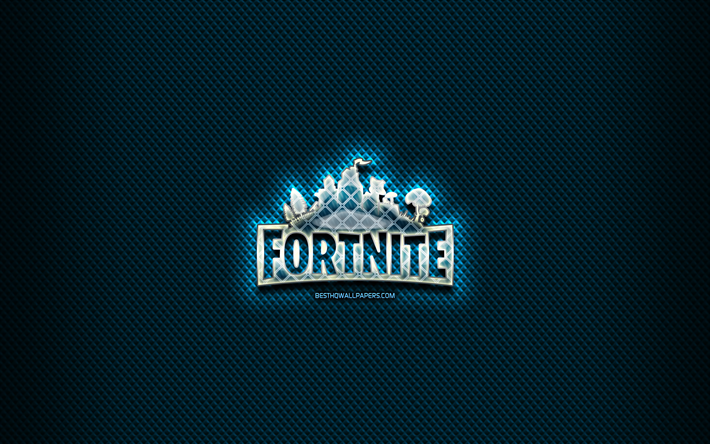 Fortnite glass logo, blue background, artwork, Fortnite, brands, Fortnite rhombic logo, creative, Fortnite logo