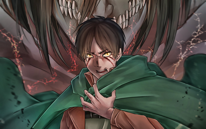 Download Wallpapers Eren Yeager Darkness Attack On Titan Manga Shingeki No Kyojin Guy With Yellow Eyes Attack On Titan Characters Eren Yeager In Fire For Desktop Free Pictures For Desktop Free