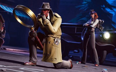 Gumshoe, Sleuth, darkness, Fortnite characters, 2019 games, Fortnite Battle Royale, Gumshoe and Sleuth, Fortnite