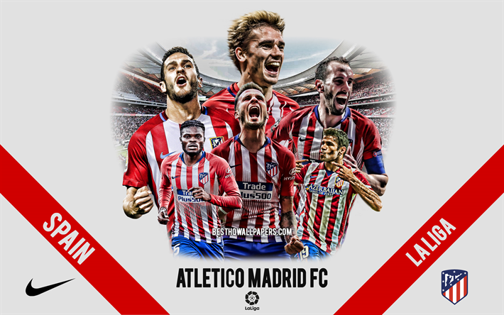 Atletico Madrid FC, Spanish football club, football players, leaders, Atletico Madrid logo, emblem, La Liga, Madrid, Spain, creative art, football, Antoine Griezmann, Diego Godin