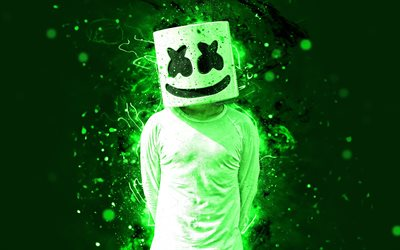 DJ Marshmello, 4k, light green neon, american DJ, fan art, Christopher Comstock, Marshmello 4K, artwork, superstars, creative, Marshmello, DJs