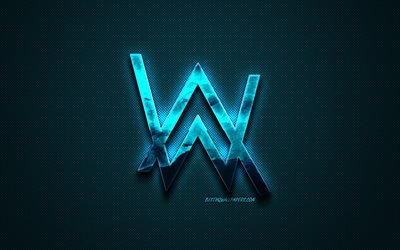 Alan Walker logo, blue creative logo, Dutch DJ, Alan Walker emblem, blue carbon fiber texture, creative art, Alan Walker