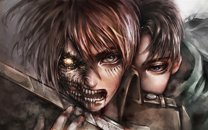 Download Wallpapers Eren Yeager Levi Ackerman 4k Attack On Titan Artwork Manga Shingeki No Kyojin Attack On Titan Characters For Desktop Free Pictures For Desktop Free